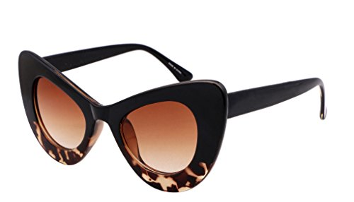 FEISEDY Cat Eye Retro Acetate Frame Polycarbonate Lenses Women Sunglasses Brown - Glasses Big Brown