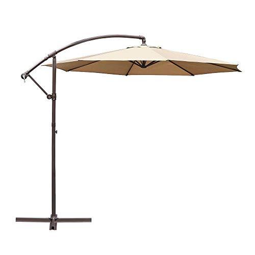 Le Papillon 10-ft Offset Hanging Patio Umbrella Aluminum Outdoor Cantilever Umbrella Crank Lift, Beige [New Generation Production] For Sale