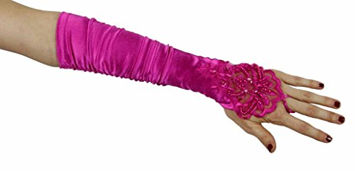 Grace Fingerless Long Gathered and Beaded Gloves Greatlookz Colors: Hot Pink