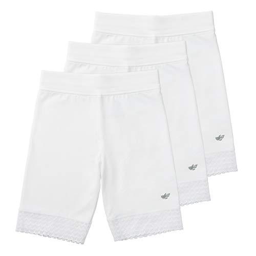 Lucky & Me Jada Little Girls Bike Shorts, Tagless, Soft Cotton, Lace Trim, Underwear, 3 Pack, White, 4/5