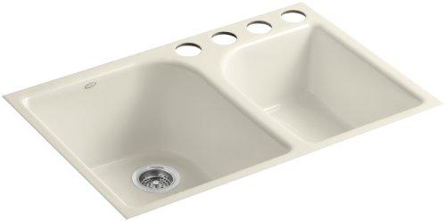 (KOHLER K-5931-4U-47 Executive Chef Undercounter Kitchen Sink, Almond )