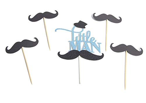 Firefairy(TM Blue Glitter Little Man Cake Topper with Black Hat and Mustache, Musache Cupcake Toppers(1 Set) -