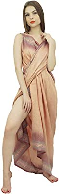 a374e882f53 Indianbeautifulart Women's Vintage Printed Pure Silk Sari Beach ...