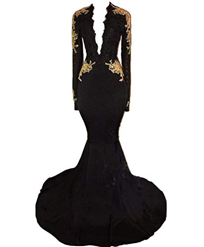 Graceprom Women's Black Long Sleeves Prom Dress Gold Appliques Mermaid Evening Dress 12