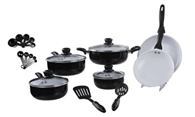 Imperial Home Basics 22 Piece Aluminum Non-Stick Cookware Set - Gloss Finish