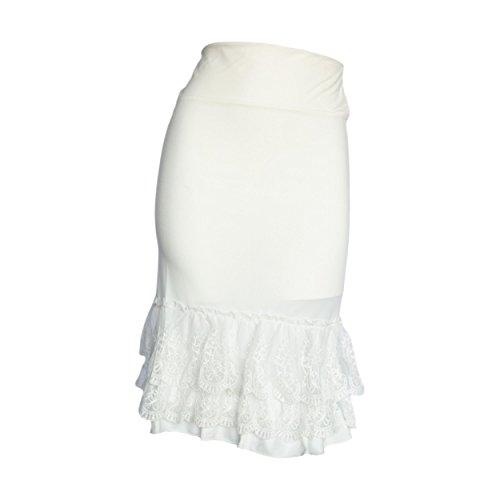 (Peekaboo-Chic Classy vs Sassy Half Slip Skirt Extender - Plus Size Lace Slip Extender - Skirt Extenders for Women - 1X Ivory White)