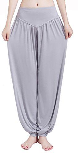 WmcyWell Womens Loose Lantern Sports Yoga Pants Pilates Dance Fitness Homewear M,Light Grey