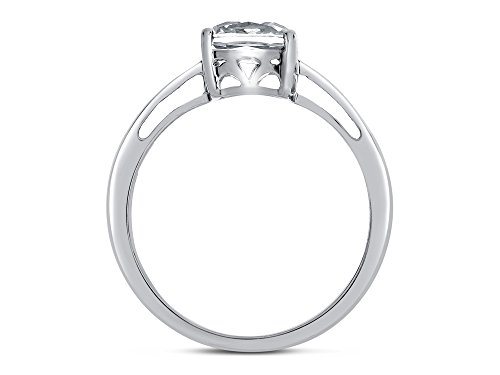 Finejewelers Solid 10k White Gold 7mm Solitaire Cushion Center Stone Ring