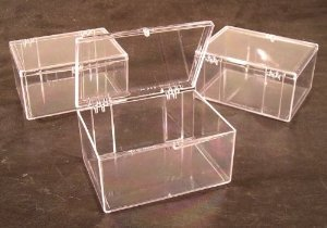 Lot of 3 Crystal Clear Hinged Plastic Trading Card Storage Boxes (100-ct) - Made in the (Plastic Trading Card Boxes)