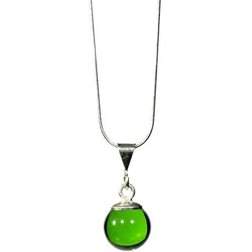 Joyería para mujer - Dije de vidrio brillante whisky verde con cadena de plata