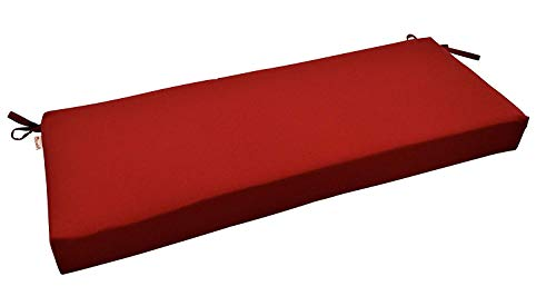 RSH Décor Indoor/Outdoor Bench Cushion Made from Premium Sunbrella Canvas Jockey Red Fabric - 3