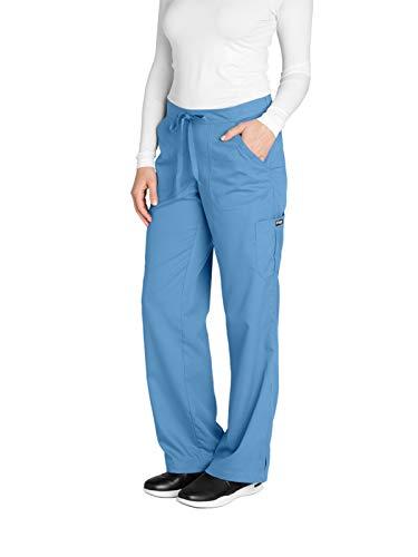 Grey's Anatomy Women's 4245 Junior Fit 4-Pocket Elastic Back Scrub Pants, Ciel Blue, X-Small/Tall ()