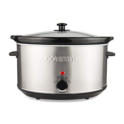 - Courant Oval Slow Cooker Crock, with Easy Options 8.5 Quart Dishwasher Safe Pot, Stainless Steel