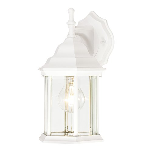 Westinghouse 6783400 One-Light Exterior Wall Lantern, Textured White Finish on Cast Aluminum with Clear Beveled Glass Panels