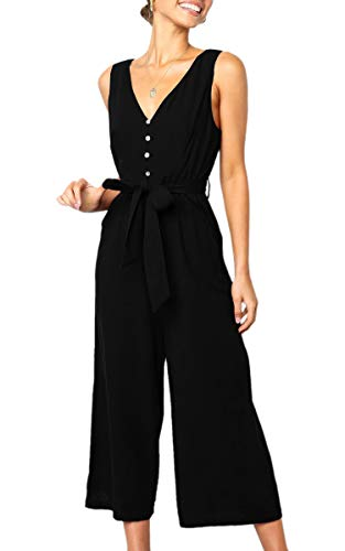ECOWISH Womens Jumpsuits Casual Button Deep V Neck Sleeveless High Waist Wide Leg Jumpsuit Rompers with Pockets 272 Black XL