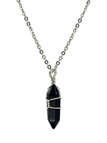 Paialco Jewelry Hand Wired Natural Crystal Healing Point Chakra Pendant Necklace 18   Black Onyx