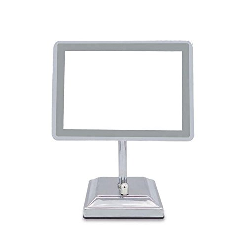 (Mirror Non-Magnifying Vanity With Light 90º Adjustable Rectangular Tabletop Portable Polished Chrome USB Rechargeable HMYH)
