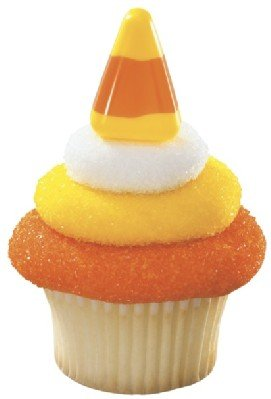 24 Picks - Thanksgiving Halloween Candy Corn Cupcake Toppers with a Bonus Cupcake Tips Card - We Ship Within 1 Business Day!