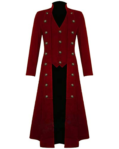 Men's Black Cotton Twill Steampunk Jacket Goth Victorian/Military Style Trench Coat (Large, Red)