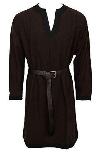 Mens Medieval Knight Armor V Neck Long Sleeves Tunic Shirt Renaissance Poets Copslay Costume -