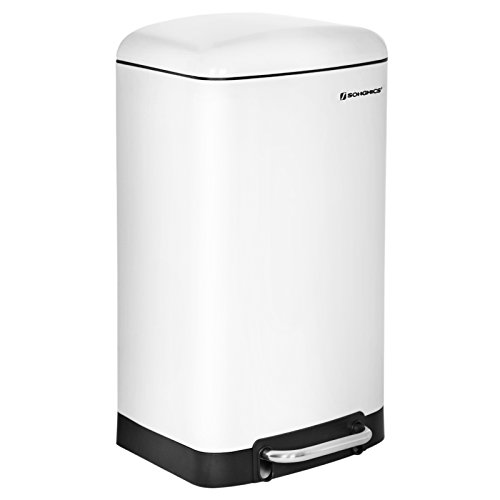 SONGMICS Basurero Cubo de Cocina Contenedor de residuos Cubeta Interior con Pedal 30 L (Blanco) LTB01W: Amazon.es: Hogar