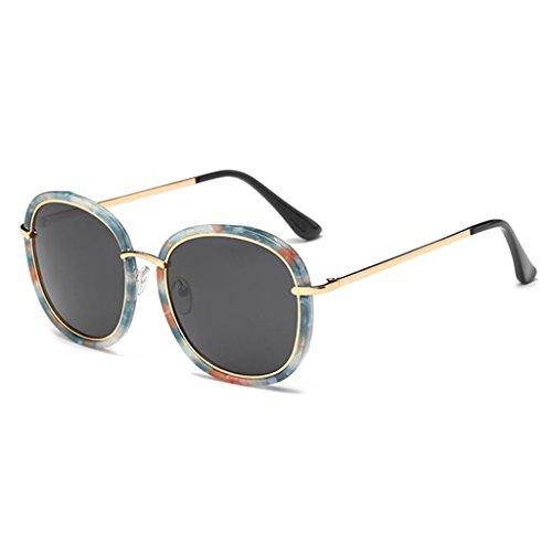 QZ Gris Gafas Sol Cara Personalidad Luz De Azul Polarizada HOME Redonda De Moda Color ArZqnxApw