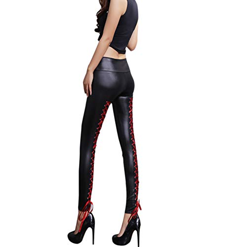 Dikoaina Fashion Womens Girls Punk Strappy Faux Leather Leggings Pants Black (Black with red straps)O/S