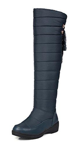 Aisun Donna Comfort Caldo Punta Rotonda Tacco Alto In Pizzo Tacco Basso Slip On Ginocchio Alto Alto Scarpe Da Neve Scarpe Blu