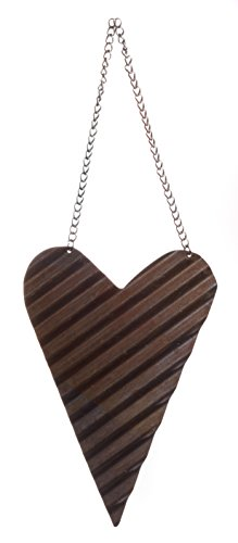 Reclaimed Small Metal Rustic Prim Heart Ornament with Hanger, 4-inch