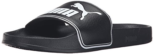 PUMA Men's Leadcat Slide Sandal, Black/White, 9 M US (Minion Men Slippers)
