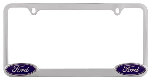 Bully WL021-C Chrome Ford License Plate Frame Holder Front or Back Bumper Shows Car Tags - Exterior Accessories for Trucks, Cars and SUVs - 1 Piece Genuine Licensed Product ()