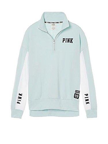 Victoria's Secret , Pink Boyfriend Half Zip High Low Slouchy Pullover Sweatshirt (Large, Mint)