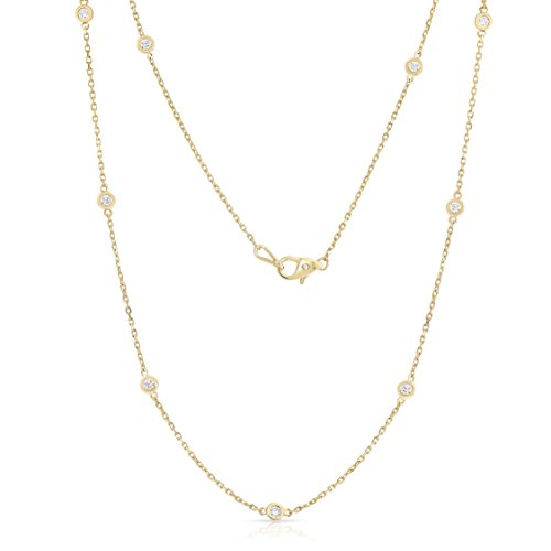 Noray Designs 14K Yellow Gold Diamond 10 Station Necklace (1 Ct, G-H, SI2-I1), 18 ()