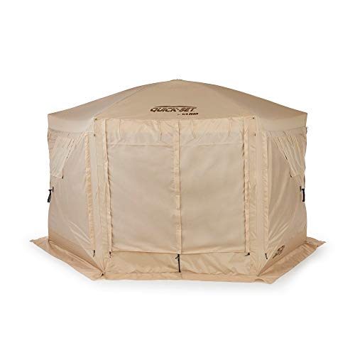 Quick Set Clam Pavilion Portable Camping Outdoor Gazebo Canopy Shelter, Tan