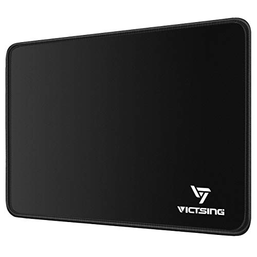 VicTsing Mouse Pad with Stitched Edge, Premium-Textured Mouse Mat, Non-Slip Rubber Base Mousepad for Laptop, Computer & PC, 10.2×8.3×0.08 inches, Black