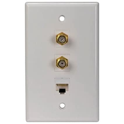 amazon com: rca cat 5/6 dual f connector wall plate (tph558r): home audio &  theater