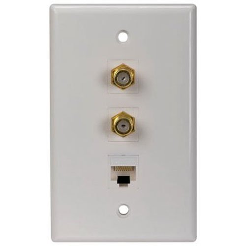 RCA Cat 5/6 Dual F Connector Wall Plate (TPH558R) ()