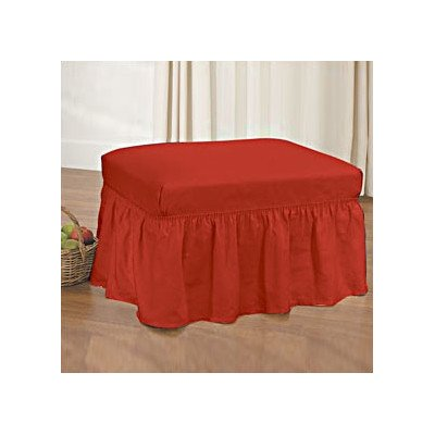 Sure Fit Duck Solid 2-Piece - Ottoman Slipcover - Claret (SF33901) (Couch Cover Ottoman)