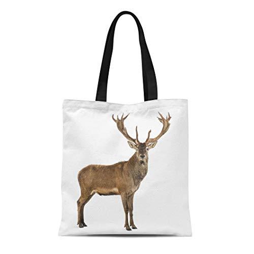Semtomn Canvas Tote Bag Shoulder Bags Brown Animal Red Deer Stag in Front of White Women's Handle Shoulder Tote Shopper Handbag ()