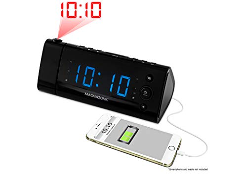 Magnasonic USB Charging Alarm Clock Radio with Time Projection