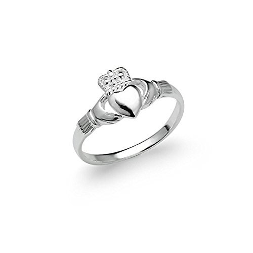 River Island Jewelry - Sterling Silver Irish Claddagh Friendship and Love Celtic Ring Ladies Women's Size 5 6 7 8 9 (11)