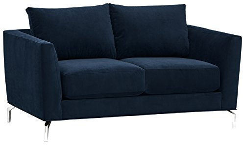 "Rivet Emerly Modern Velvet Metal Leg Sofa, 63""W, Navy - A sleek profile and metal legs make this piece an eye-catching modern addition to your home. Stain-resistant, heavy-duty fabric is woven for a velvety look and feel, yet designed to outlast many movie nights and quiet lounging days. 63""W x 35""D x 34""H Hardwood frame with sturdy mortise-and-tenon joints, performance fabric, metal legs - sofas-couches, living-room-furniture, living-room - 31OTBaC373L -"