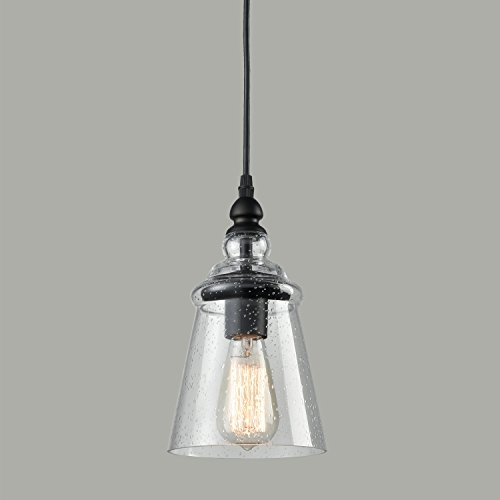 Axiland Industrial 1--Light Mini Pendant Light Adjustable with Seeded Glass Hanging Light - 1 Light Seeded Glass
