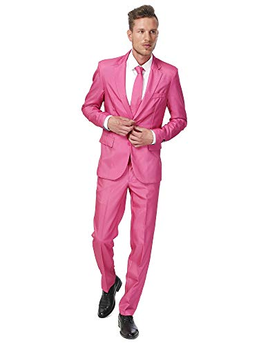 Suitmeister Solid Colored Suits Includes Jacket, Pants & Tie,Solid Pink,Large