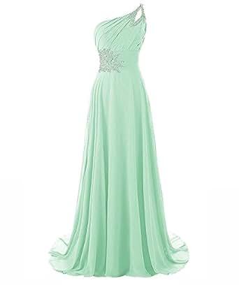Beilite One Shoulder Gradient Color Chiffon Formal Evening Dress Long Party Gown Aqua 2