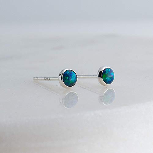 Sterling Silver Green-Blue Opal Cabochon Stud Earrings (Green Diamond Stud Earrings)