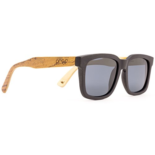Proof Federal Wood - Handcrafted Wooden Polarized Sunglasses, Black Maple Zebra Temple, Gray - Sunglasses Proof Wood