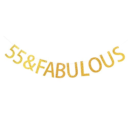 Gold 55 & Fabulous Banner - Happy 55th Birthday Party Sign Decorations