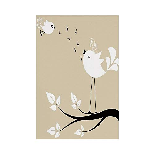 Polyester Garden Flag Outdoor Flag House Flag Banner,Flying Birds Decor,Two Birds on a Branch Singing Love Songs Friend Valentine Couple Hope Living,Cream Black White,for Wedding Anniversary Home Outd -