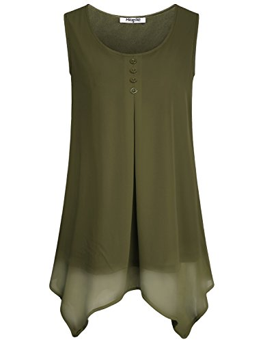 Tops For Women, Ladies Tunic Blouses Chiffon Round Neck Sleeveless Frill Shirred Dressy Swing Hippie Comfy Shirt Vintage Casual Loose Summer Tank Top Green Large L (Hippie Tunic Blouse)